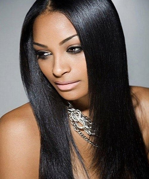 long black straight weave hair