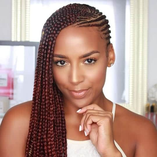 Braid hairstyle with weave