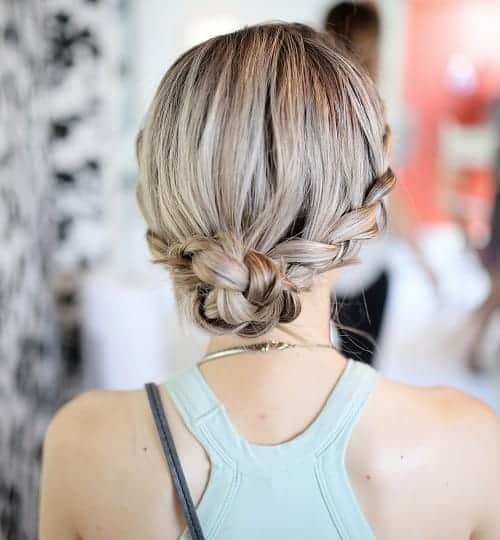 braided low bun hairstyle for waitress