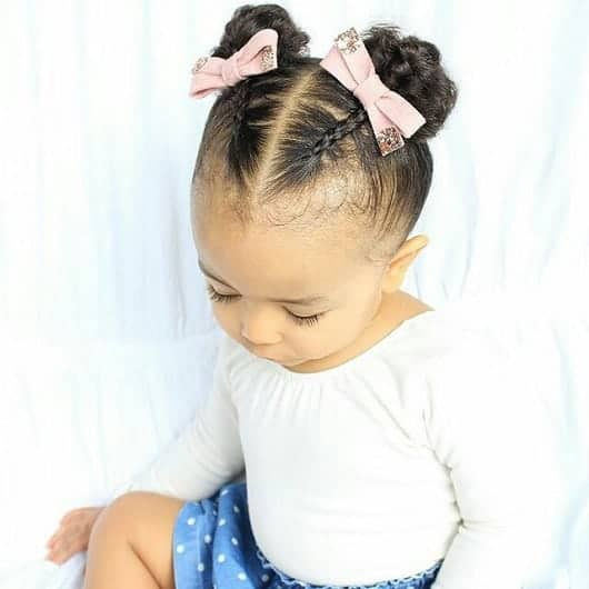 double braid bun for biracial toddler