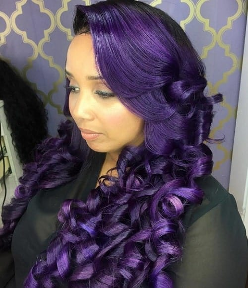 long purple weave hair